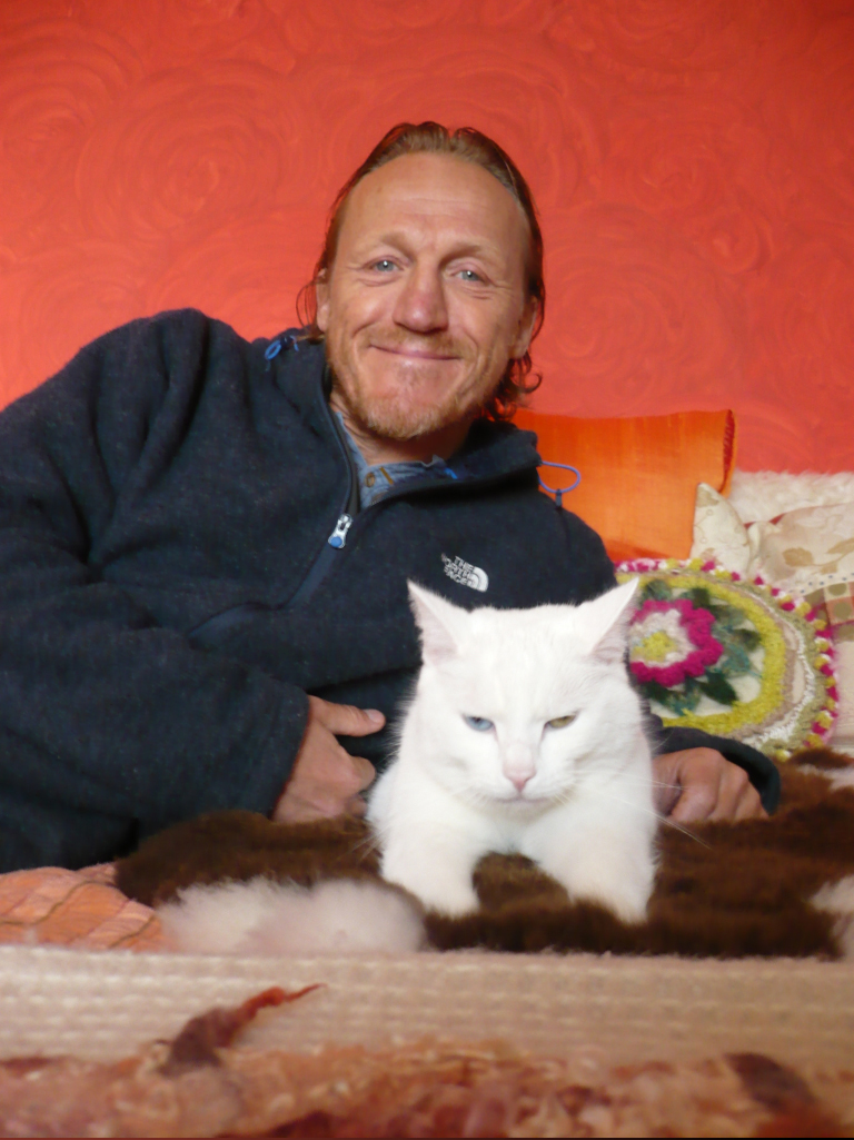Jerome with his cat Gwynne